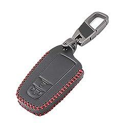 Happyit Leder Autoschlüssel Abdeckung Fällen für Toyota CHR C-HR 2017 2018 Prius 2 Tasten Schlüsselloses Schlüsselbundzubehör (Rote Linie)