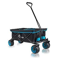 SAMAX Bollerwagen Handwagen Kühltasche Gartenwagen Strandwagen Klappbar Faltbarer Bollerwagen Transportwagen Offroad Cool - Schwarz/Blau