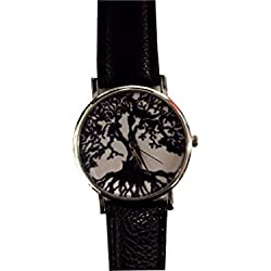 Gothic Wristwatch with Black Tree and Roots
