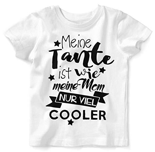 Mikalino Baby/Kinder T-Shirt mit Spruch für Jungen Mädchen Unisex Kurzarm Meine Tante ist wie Meine Mom. | handbedruckt in Deutschland |, Farbe:Weiss, Grösse:80/86