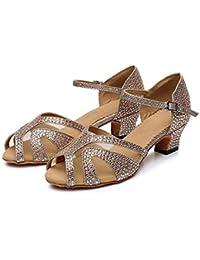 HCCY Zapatos de Baile Latino de tacón bajo con tacón bajo para Damas  Adultas de perforación en Caliente de… f2402abbdfd9