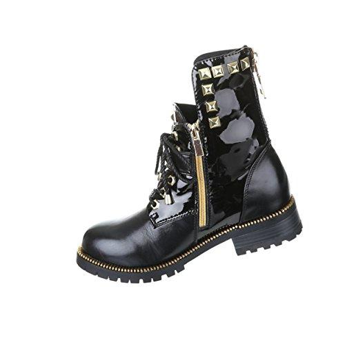 Damen Schuhe Gothic Stiefelette Boots Punk Stiefel mit Nieten Nr 6 Schwarz