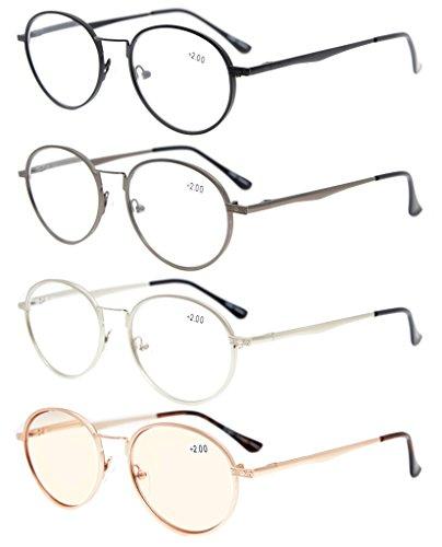 Eyekepper 4-Pack Bisagras de primavera Oval los anteojos incluido Gafas de la computadora