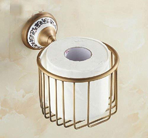Eeayyygch Badezimmer-Versorgungsmaterialien Toilette-Badezimmer Antiker Messing fertigte Duschekasten-Bad-Badezimmer-Organisator-Speicher-Korb an Wand befestigte Toiletten-Rollenpapier-Halter