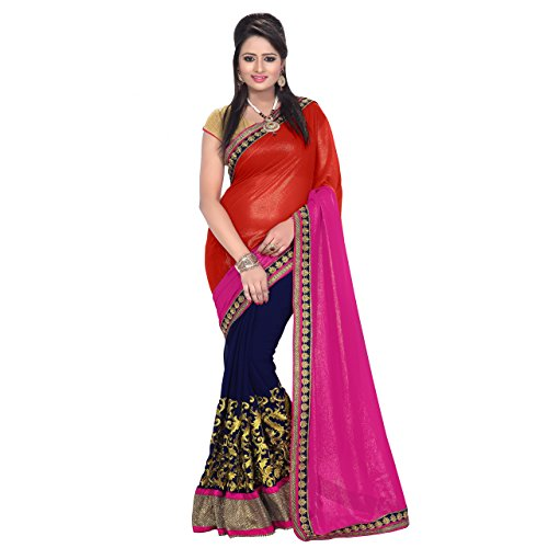 Florence Pink, Red, Blue Georgette Embroidered Saree