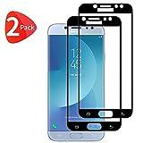 TBOC 2X Protector Pantalla 5D para Samsung Galaxy J7 (2017) J730F (5.5') - [Dos Unidades] Cristal Vidrio Templado [Marco Negro] Ultrafino Dureza 9H Antihuellas [Protección Completa] Resistente Golpes