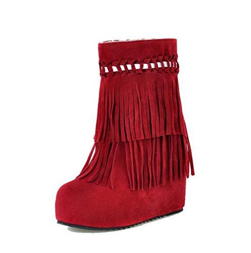 AgooLar Damen Niedrig-Spitze Rein Ziehen auf Rund Zehe Hoher Absatz Stiefel, Rot, 36
