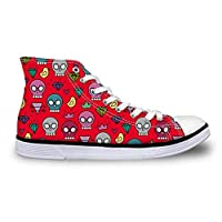 ASILAX& Women Lady Red Hi Top Canvas Shoes Cute Skull Lace Up Walking Trainers Pumps