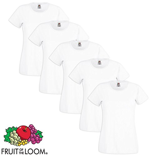 5/10er Fruit of the Loom Damen T-Shirt Lady-Fit Rundhals 100% Baumwolle XS-XXL Weiß