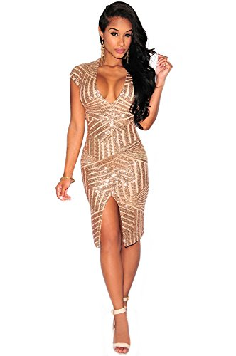 Gold Kleid Disco (OMUUTR Damen Paillette Kurzarm V Ausschnitt Pailletten Kleider Schlank Split Front Figurbetontes Bodycon Midikleid Abendkleid Cocktailkleid Gold)
