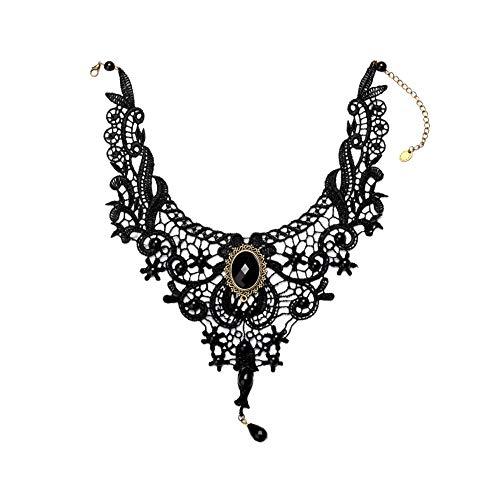 Fankunyizhoushi gothic pizzo nero steampunk choker delle ragazze delle donne di modo della collana in acciaio inox artificiale gemme amore ciondolo inciso corrispondenza collana di san valentino nero