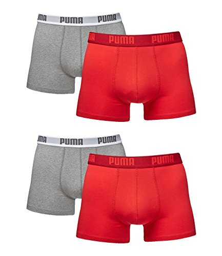 PUMA Herren Boxershorts Unterhosen 521015001 4er Pack Red