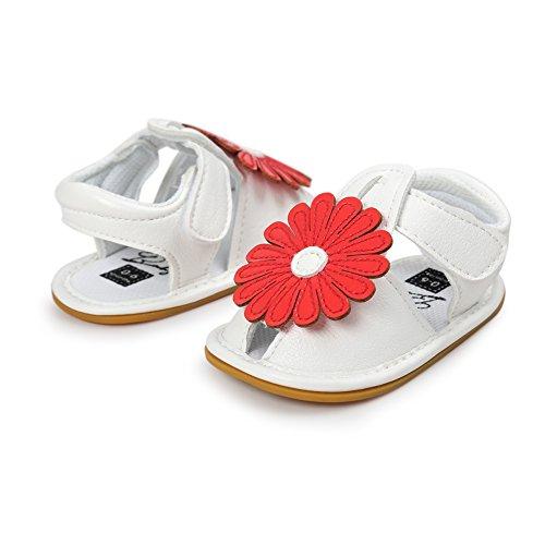 MiyaSudy Baby Schuhe Mädchen Rutschfest Weiche Sohle Sonnenblume Sommer Sandalen Schuhe Rot