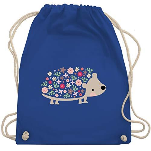 Tiermotive Kind - Süßer Igel - Frühlingstiere mit Blumen - Unisize - Royalblau - WM110 - Turnbeutel & Gym Bag -