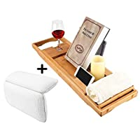 Rubik Bathtub Tray Caddy Shelf with Waterproof Bathtub Pillow For Neck Rest Back Support, Wooden Bath Tub Tray with Extending Sides, Book Tablet Wine Glass Holder