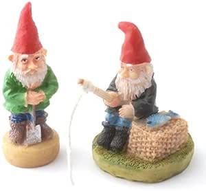 Set Of 2 Fairy Garden Mini Garden Gnomes Is The Fishing And Digging Garten