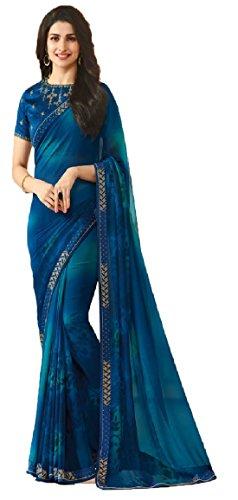 Kamela Saree Georgette Saree With Blouse Piece (Sahidaorangesaris_Orange_Free Size)