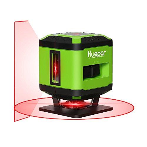 Huepar FL360R Fliesen Laser Rot, Kreuzlinienlaser für die Verlegung von Fliesen, Umschaltbar Selbstnivellierenden 360° Horizontaler Linie, 10m Arbeitsbereich Radius Überdacht, inkl. Halterung