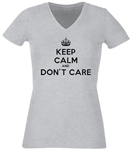 Keep Calm And Don't Care Donna V-Collo T-shirt Grigio Cotone Maniche Corte Grey Women's V-neck T-shirt