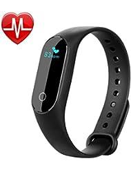 Pulsera Inteligente con Pulsómetro,Parsion HR4 Pulsera Actividad y Monitor de Ritmo Cardíaco Pulsera Deportiva Monitor de Actividad Impermeable IP67 Reloj Fitness Tracker Bluetooth Podómetro para And (B)