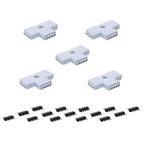 Preisvergleich Produktbild cooligg 5X T Form Schnellverbinder RGB LED Eckverbinder LED Stripe SMD5050 / 3528/2835 4 pin Steckverbinder für RGB LED Streifen,TV-Hintergrundbeleuchtung T-Förmig LED Zubehör, Rechnung per Email
