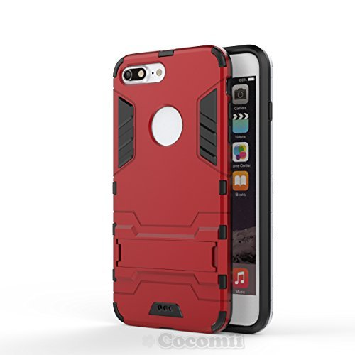 iPhone 8 Plus / 7 Plus Funda, Cocomii Iron Man Armor NEW [Heavy Duty] Premium Tactical Grip Kickstand Shockproof Hard Bumper Shell [Military Defender] Full Body Dual Layer Rugged Cover Case Carcasa Apple (Red)