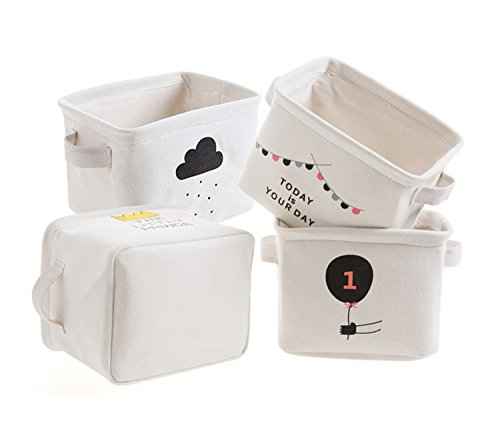 Aufbewahrungskorb Mini Baumwolle Stoff Lagerkästen Organisatoren für Regale & Schreibtische, Kinder Spielzeug, Bücher, Make-up-Speicher, Set von 4