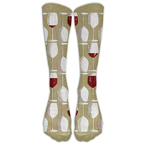 Desing shop Wine Glasses Unisex Crazy Pattern Crew Socks Compression Socks For Men And Women
