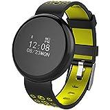 ds-mart impermeable Bluetooth reloj I8Fitness Tracker Monitor de presión arterial Corazón inteligente muñequera pulsera inteligente Muñequera para Android IOS, color Amarillo