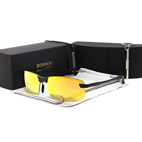 881840a70a5 Ronsou Men UV400 Rimless Aluminium-Magnesium Polarized Sunglasses Mirrored  For Driving Fishing Golf Outdoor black