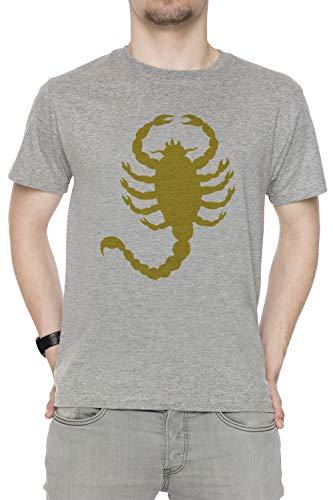 Erido Conducir Escorpión Hombre Camiseta Cuello Redondo Gris Manga Corta Tamaño L Men's Grey T-Shirt Large Size L