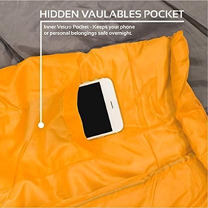 Milestone Camping Unisex's 26750 Envelope Sleeping Bag 3 Season Double Insulation Grey & Orange, Grey 9