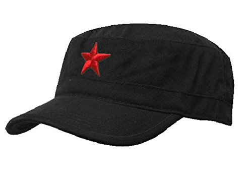 Damen Heren RUSSISCHE MILITÄRMÜTZE Roter Stern Fancy Dress Fidel Castro Vintage Military Mütze Cap (Black Red Star) (Chicago Bulls Dress)