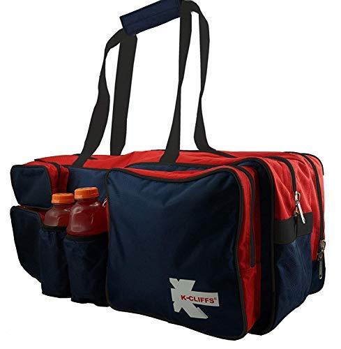 K-Cliffs Schläger, Tasche Robuste Badminton Schläger Tasche Deluxe Qualität Ballistic Nylon Squash Gear Duffel Tasche mit Schuhfach & 2Wasser Flaschenhalter, Navy/Red/Black -