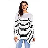 QWL-Sweater Jersey Casual de Punto Suelto a Rayas, Blanco, XLMujer Suéter Básico Suéter Jerseys De Punto Mujeres