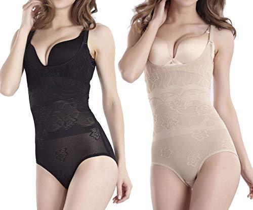 Umipubo shapewear donna dimagrante corsetto corpo shaper traspirante intimo modellante regolabile body snellente bodysuit (l (vita 73-79 cm), nero+beige)