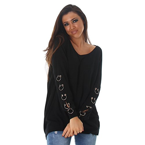 VOYELLES Damen Pullover im Oversized Stil, in vielen Farben erhältlich, Größe 36-42 Schwarz