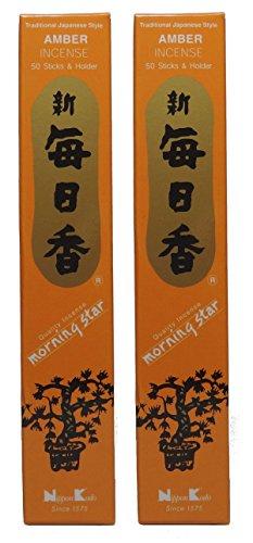 Trimontium 189 Nippon Kodo Morning Star japanische Räucherstäbchen Duopack, 2 x 50 Stück, Amber/Bernsteinharz
