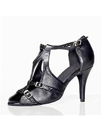 Silencio @ de las mujeres zapatos de baile Latina de piel Stiletto talón negro, negro, US6.5-7 / EU37 / UK4.5-5 / CN37