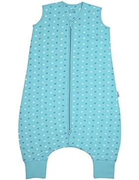 Schlummersack Schlafsack mit Füßen leicht gefüttert in 1.0 Tog - Teal Stars - erhältlich in 5 verschiedenen Grössen