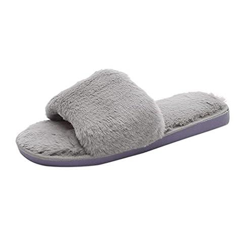 Taottao pour femmes Chaussons décontracté Fluffy Fausse fourrure Plat Pantoufles Flip Flop Sports et plein air Sandale curseurs de Slip de bain plage Piscine Chaussures, gris, 41