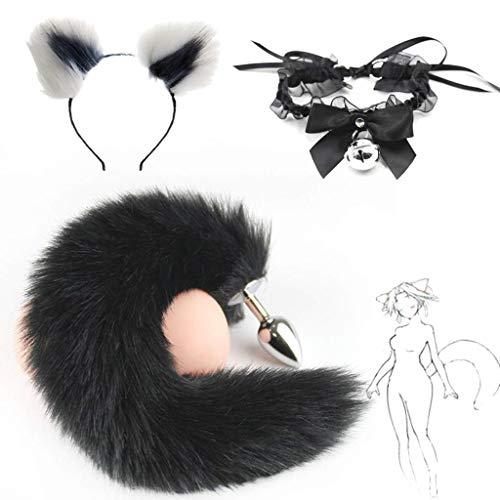 Fox Kostüm Grey - Jjek Cos-Lace Glockenkragen, Black Fox Metal Tail Plüsch und Multicolor Cat Ears Glamour Weibliche Maskerade Requisiten 3er Set Massage Cosplay Kostüm Requisiten (Color : White+Grey, Size : S)