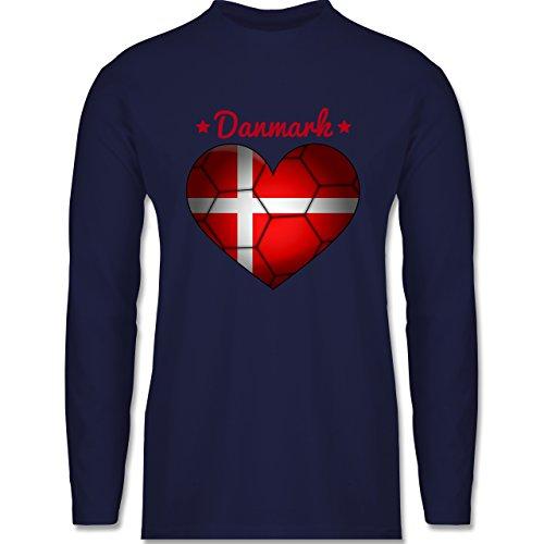 Shirtracer Handball - Handballherz Dänemark - Herren Langarmshirt Navy Blau