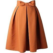 bc614b64b5dc62 uideazone Fashion Womens Sommer Midi Gefaltete Röcke High Taille Knielangen  Rock