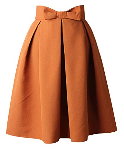 Uideazone Womens Plain Rock High Waisted Pleated Skater Midi Rock Gelb,Asian L = EU 38