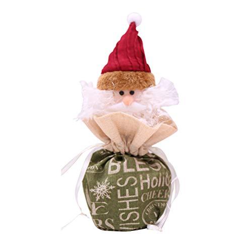 PRETYZOOM Weihnachten Englisch Worte Apfeltasche Heiligabend Apfeltasche Leinen Tuch Weihnachtsschmuck (Santa Claus) -