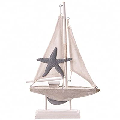 Novelty Seaside Decoration - Boat with Starfish on Sail PDS