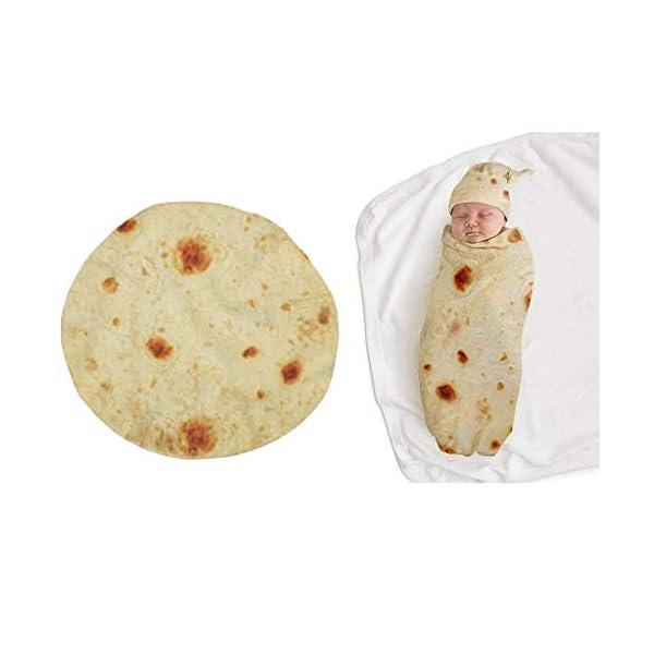 ForgetMe Home Burrito Manta para bebé de harina Tortilla Swaddle Manta para Dormir Swaddle Wrap Hat Set bebé Swaddle Wrap Manta bebé recién Nacido Saco de Dormir Wrap Manta