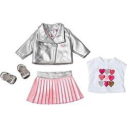 Zapf Baby Born Deluxe Trendsetter Juego de ropita para muñeca - Accesorios para muñecas (Juego de ropita para muñeca, 3 año(s), Rosa, Plata, Blanco, 43 cm, Chica, 43 cm)