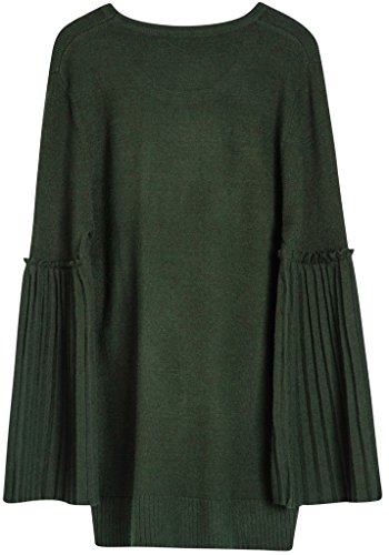 Vogueearth Fashion Femmes Trumpet Manches Crew Neck Knit Jumper Sweater Chandail Tricots Pullover Top Olive